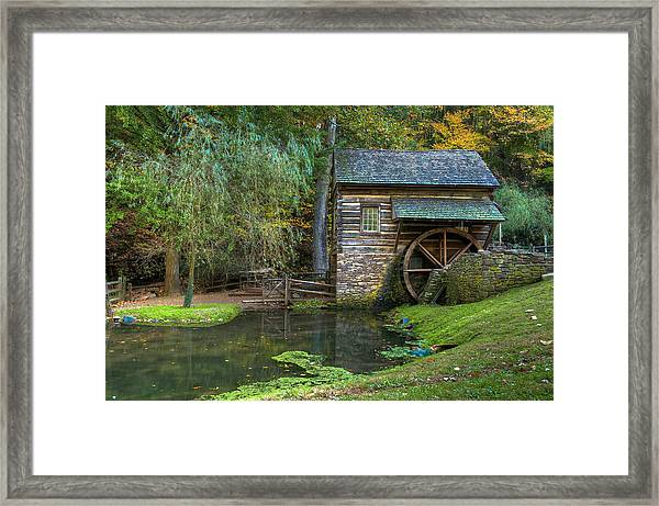 Framed Print featuring the photograph Mill Pond In Woods by William Jobes