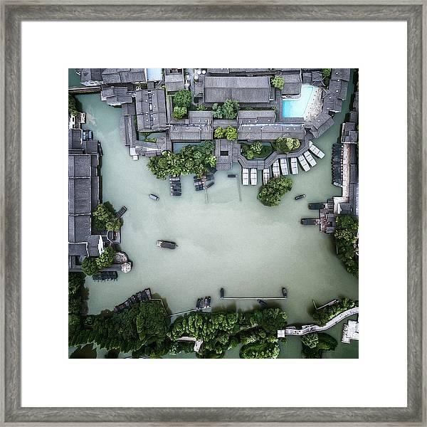 Millennium Ancient Town Framed Print by Zhou Chengzhou