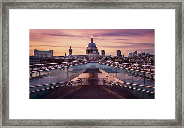 Millennium Bridge Leading Towards St. Paul's Church Framed Print