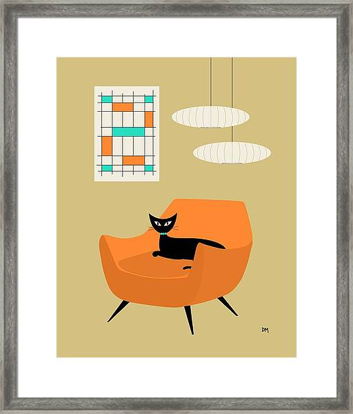Mini Abstract With Orange Chair Framed Print