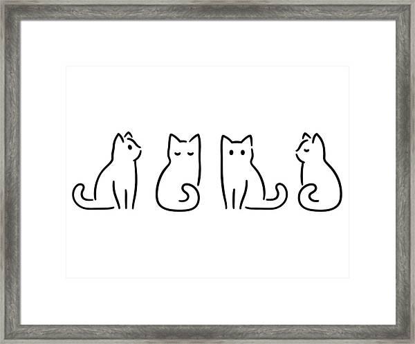 Minimal Cat Drawing Framed Print by Sudowoodo