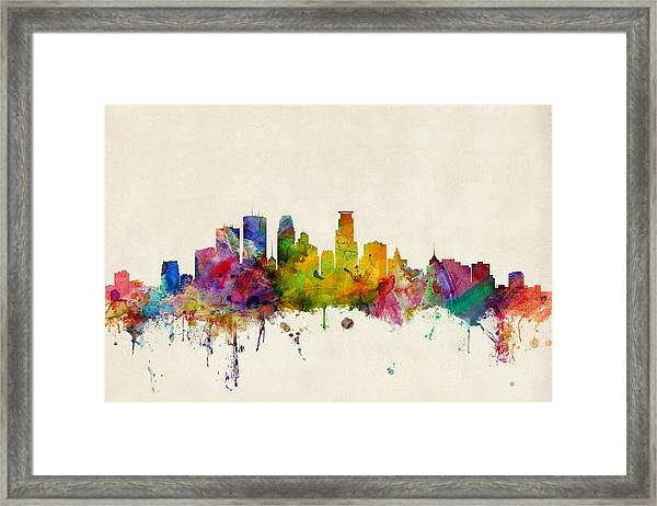Minneapolis Minnesota Skyline Framed Print
