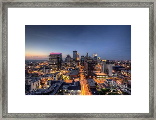 Minneapolis Skyline At Night Framed Print