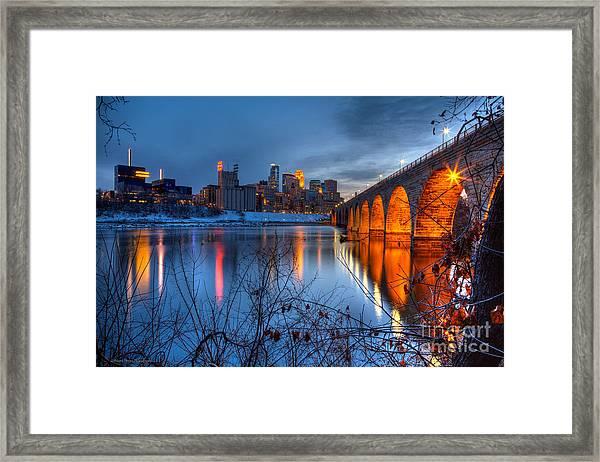 Minneapolis Skyline Images Stone Arch Bridge Spring Evening Framed Print