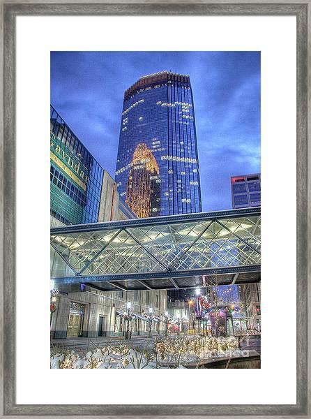 Minneapolis Skyline Photography Nicollet Mall Winter Evening Framed Print