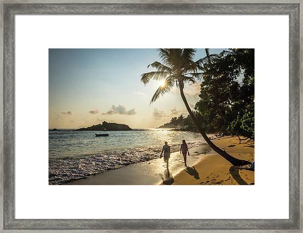 Mirissa Beach, Couple Taking A Romantic Framed Print