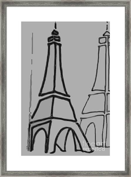 Mirrored Eiffel Tower Framed Print