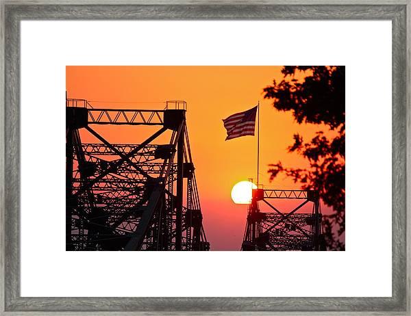 Mississippi River Bridge Sunset Framed Print