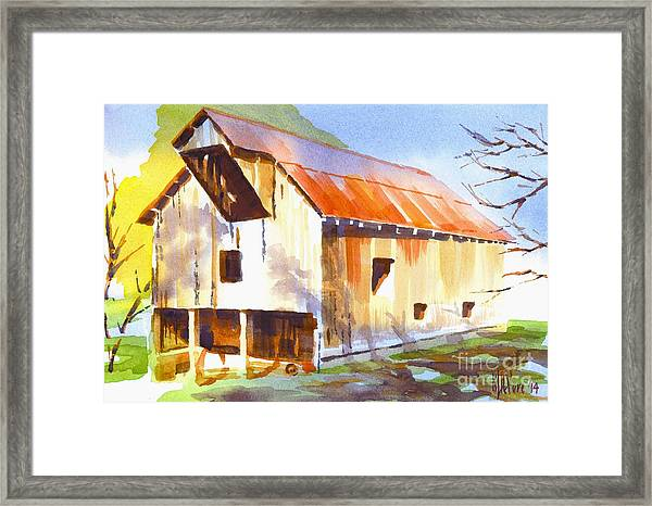 Missouri Barn In Watercolor Framed Print