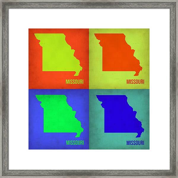 Missouri Pop Art Map 1 Framed Print