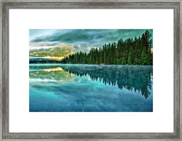 Mist And Moods Of Lake Beauvert  Framed Print