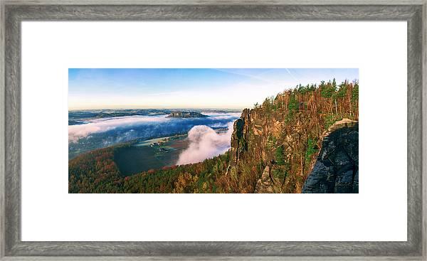 Mist Flow Around The Fortress Koenigstein Framed Print