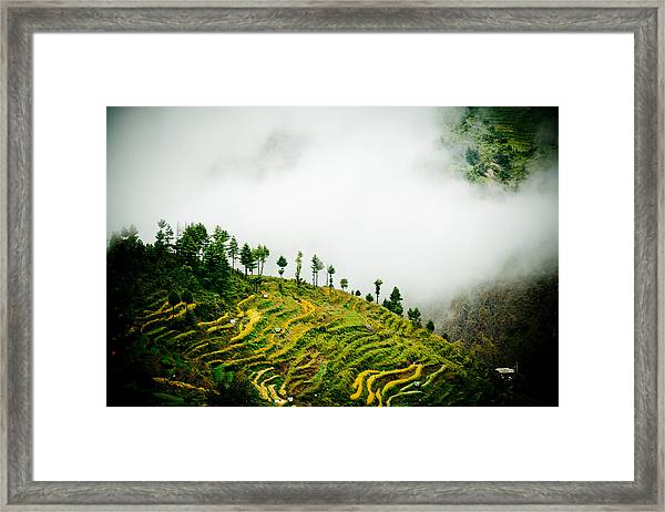 Framed Print featuring the photograph Mist In Mountain Himalayas Color by Raimond Klavins