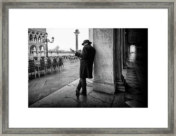Mister B. Still Reads Newspapers Framed Print
