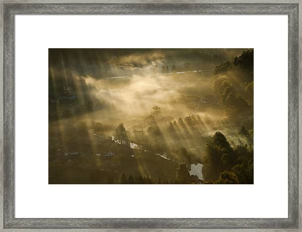 Mist,light And Silence. Framed Print