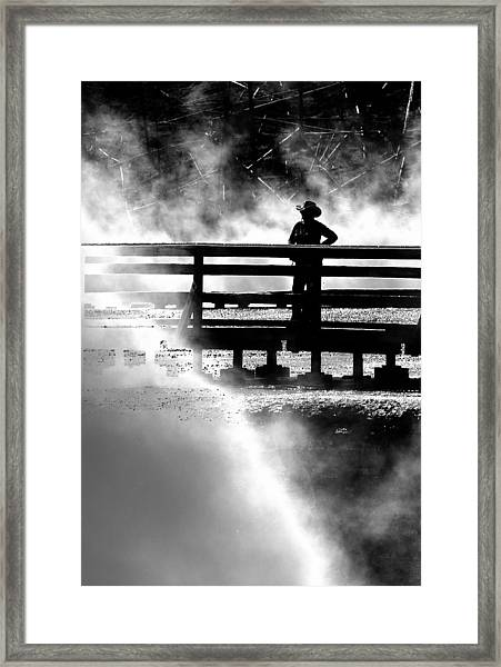 Misty Cowgirl Framed Print