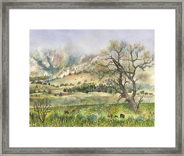 Misty Flatirons Framed Print