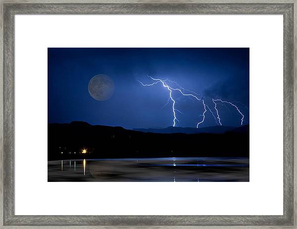 Misty Lake Full Moon Lightning Storm Fine Art Photo Framed Print