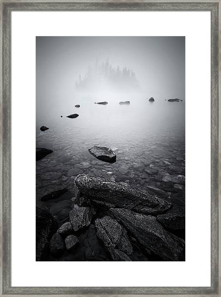 Misty Lake Framed Print by Lydia Jacobs