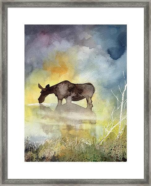 Misty Moose Minerva Framed Print