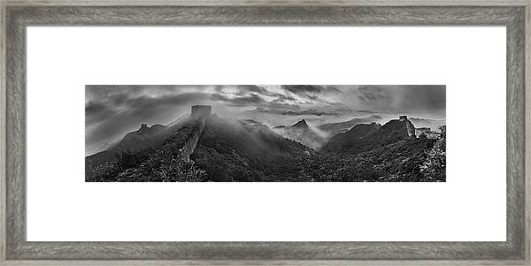 Misty Morning At Great Wall Framed Print