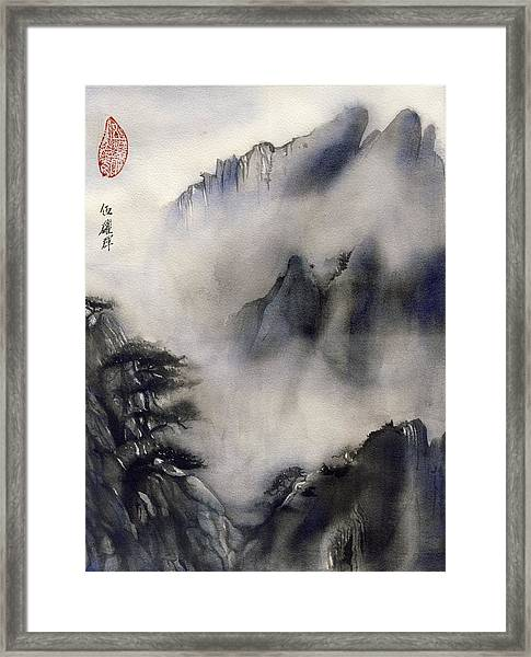 Misty Mountain In Blue Framed Print