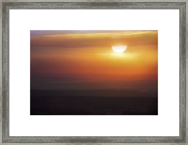 Misty Peaks And Valleys Under The Rising Sun - Mt. Nebo - Arkansas Framed Print