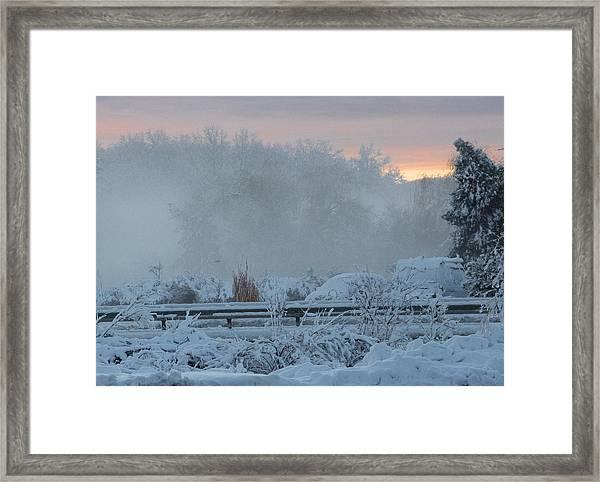 Misty Snow Morning Framed Print