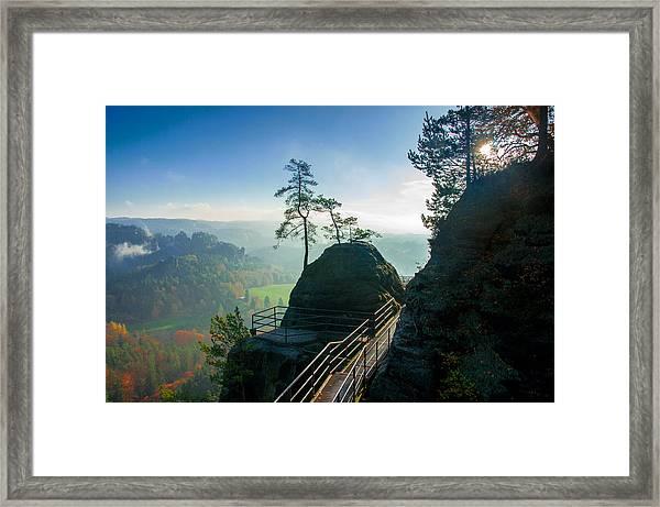 Misty Sunrise On Neurathen Castle Framed Print
