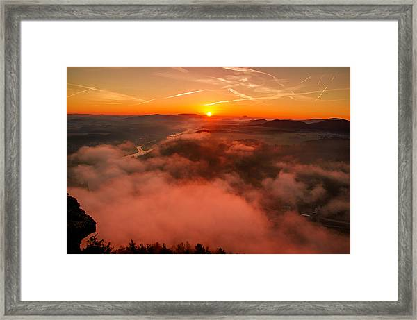 Misty Sunrise On The Lilienstein Framed Print