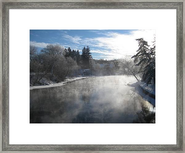 Misty Winter River Framed Print by Carolyn Reinhart