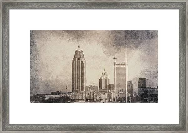 Mobile Alabama Black And White Framed Print