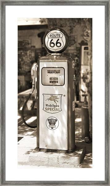 Mobilgas Special - Tokheim Pump  - Sepia Framed Print