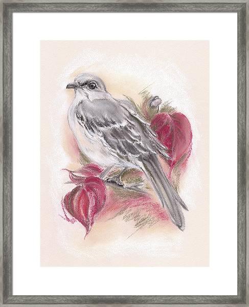 Mockingbird In Autumn Dogwood Framed Print