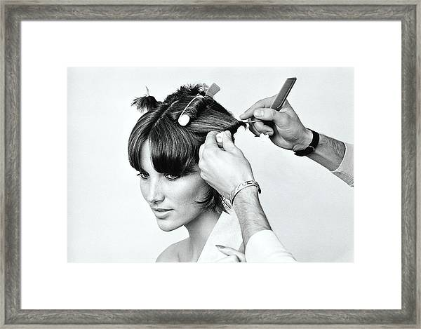 Model Getting Hair Put In Curlers Framed Print