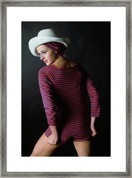 Model In A Blue And Red Striped Top And Matching Framed Print