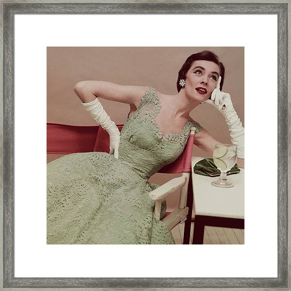 Model In A Green Lace Dress Framed Print