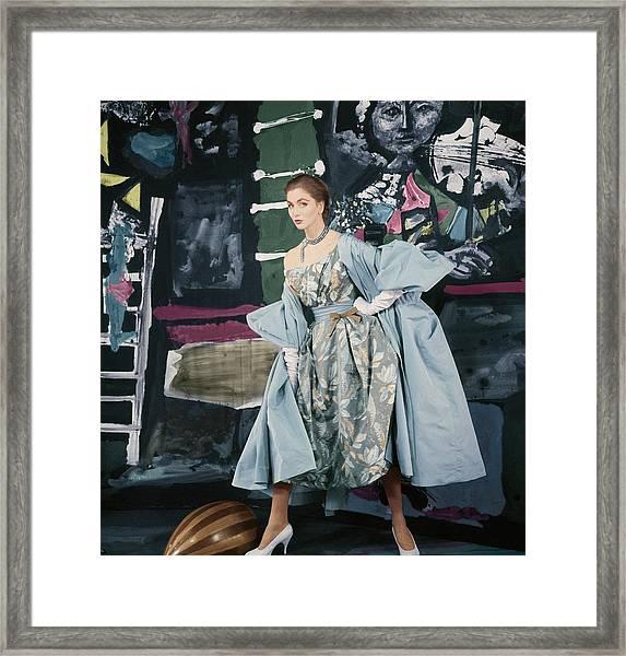 Model In Paper Taffeta Dress Framed Print by Henry Clarke