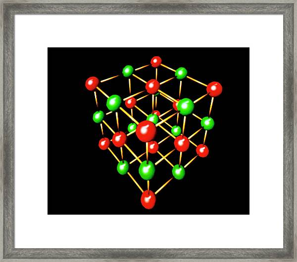Model Of Sodium Chloride Crystal Lattice Framed Print