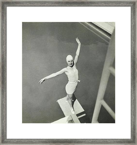Model On A Diving Board In Bvd Swimsuit Framed Print