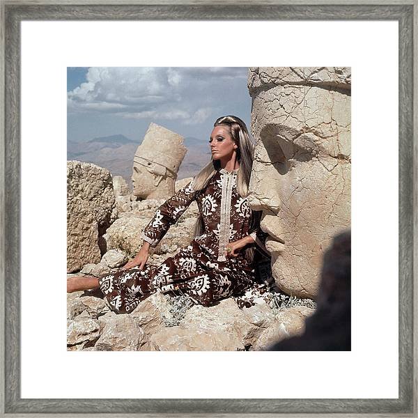 Model Wearing A Brown And White Persian Print Framed Print