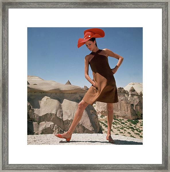 Model Wearing A Brown Dress By B.h. Wragge Framed Print