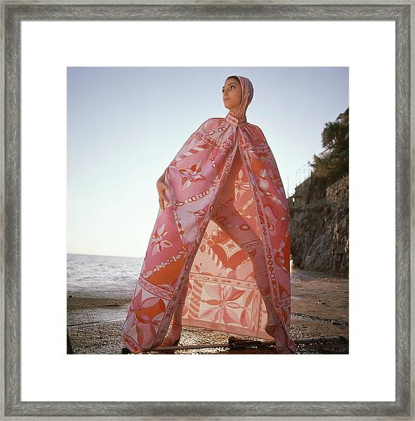 Model Wearing A Head-to-toe Leotard In Pink Silk Framed Print