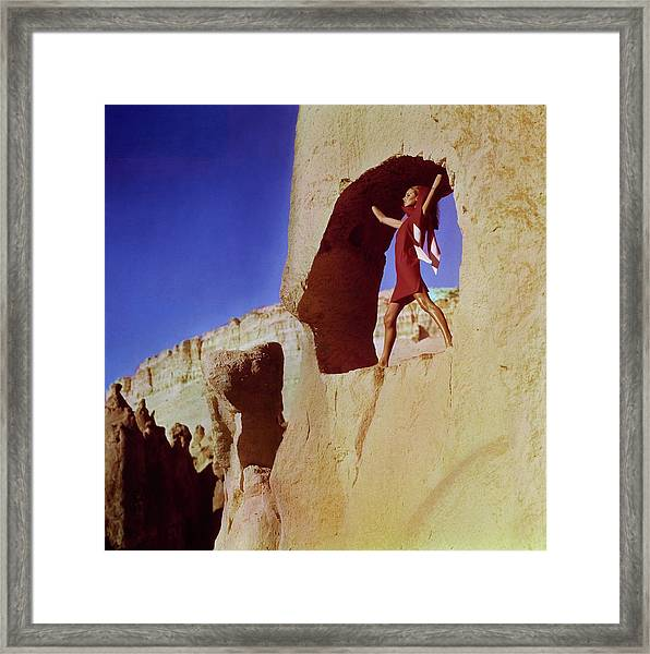 Model Wearing A Jacques Tiffeau Dress Framed Print