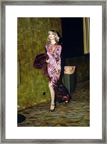 Model Wearing A Paisley Gown Framed Print by Arthur Elgort