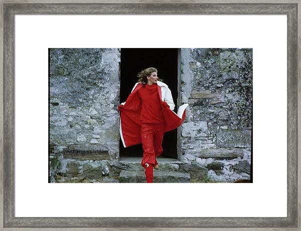 Model Wearing A Raincoat Framed Print