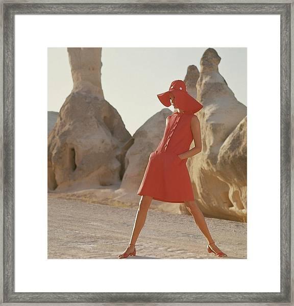 Model Wearing A Red Linen Dress By Joan Leslie Framed Print
