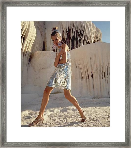 Model Wearing A Silver Sequined Dress By Joan Framed Print