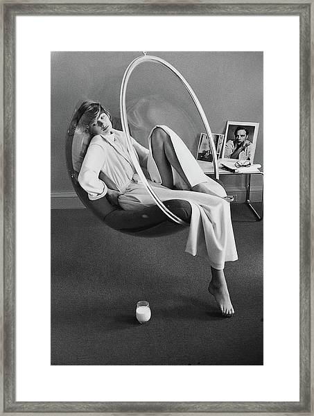 Model Wearing A Stella Fagin Dressing Gown Framed Print