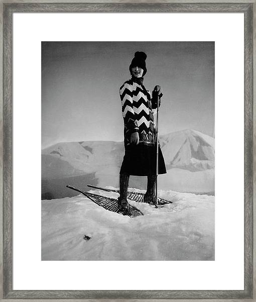 Model Wearing A Striped Sweater On Snow Framed Print